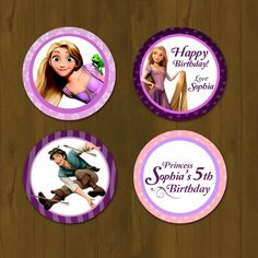 Tangled Rapunzel Cupcake Topper - Rapunzel Tangled Printable Cupcake Topper with Free Cupcake Wrapper (Disney Tangled). $7.00, via Etsy.