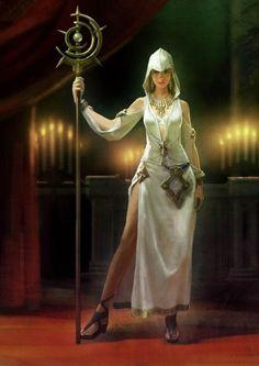 She looks like she's got a bad attitude for such a beautiful priestess...