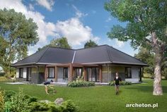 Projekt domu Tymoteusz G2 - przestronny dom parterowy, z 4 pokojami i garażem dwustanowiskowym ceramika - Archeton.pl Exterior Colors, Coastal Living, Planer, Gazebo, House Plans, Outdoor Structures, House Design, How To Plan, Landscape