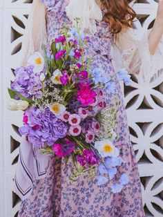 Layered Maxi Dress + Playful Florals Pink, purple, blue, & white bouquet. Hydrangea, poppy, bellflower, stock, tulip, Queen Anne's lace, carnation, mini pom buttons Purple Carnations, Simple Dresses, Summer Dresses, Gingham Dress, Mixing Prints, My Flower, Affordable Fashion, Hydrangea, Tulip