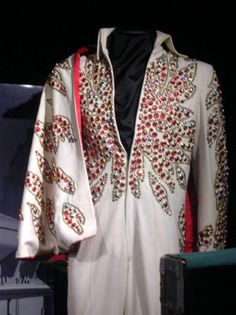 """The """"Red Flower"""" suit  was first worn during the January February engagement in Las Vegas 1973; other dates include April 1973 and once during March 1974. The suit is at Graceland."""