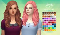 Aveira's Sims 4, Wildspit's Angelic Hair - Recolor 70 Colors ...