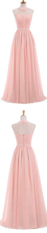 Long Bridesmaid Dress, Chiffon Bridesmaid Dress, Sleeveless Bridesmaid Dress, A-Line Dress for Wedding, Halter Bridesmaid Dress, 17352