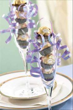 Ferrero Rocher chocolate favors in champagne glass