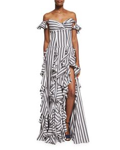 Off-the-Shoulder+Wide+Stripe+Ruffled+Gown,+Black+by+Caroline+Constas+at+Neiman+Marcus.