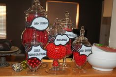 Red, black and white comic book-themed party. Here is the candy for the candy bar.