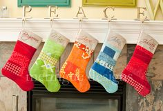 quilted christmas stockings from meringuedesigns