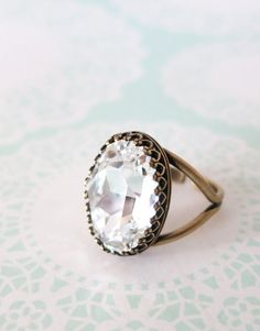 Clear Crystal Brass Cocktail Ring, Rose Gold Adjustable Ring Swarovski Crystal Oval Stone Cocktail Ring Rose Gold Vintage Statement Ring, www.glitzandlove.com
