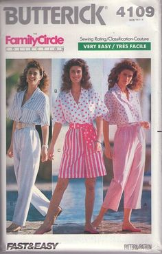 MOMSPatterns Vintage Sewing Patterns - Butterick 4109 Vintage 80's Sewing Pattern SASSY Family Circle Collection Brat Pack Shirt Blouse, Flared Shorts, Capri Pants & Trousers Size 6-10