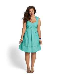 Plus Size   Plus Size Embroidered Cross Bodice Dress   dressbarn