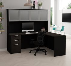 Modern L-Shaped Desk & Hutch in Deep Gray & Black Finish