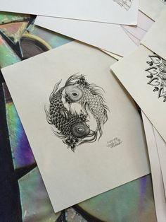 Koi Fish Art Yin Yang Koi Fish Design The Yin by MorgansCanvas
