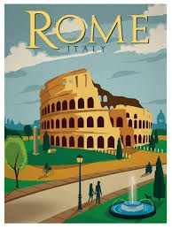 "Rome Vintage Travel Poster Art Print 12x16/"" Rare Hot New A343"