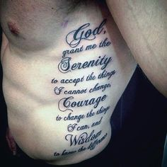 Guys Serenity Prayer Rib Cage Side Tattoo Deisgns