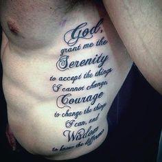 Guys Serenity Prayer Rib Cage Side Tattoo Deisgns