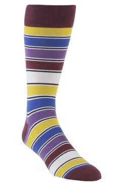 Statement Sockwear: Striped multi-color socks. Every pair of Statement Sockwear socks purchased provides 100 days of clean water for someone in Africa. Make a statement. Make a difference.