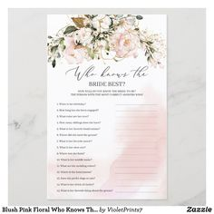 Blush Pink Floral Who Knows The Bride Best Game Bridal Shower Backdrop, Wedding Shower Games, Engagement Party Decorations, Pink Watercolor, Watercolor Background, Blooming Rose, Bride Gifts, Green And Gold, Wedding Colors