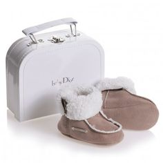 For the designer baby! Dior Brown Faux Suede Bootees with Fleece Lining at Childrensalon.com
