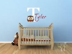 Children Wall Decal Baby Name Monogram Vinyl - Nursery Decals Letter Child Owl. $37.00, via Etsy.