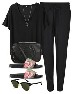 """Sin título #12513"" by vany-alvarado ❤ liked on Polyvore featuring Gucci, R13, Rayban and Minor Obsessions"