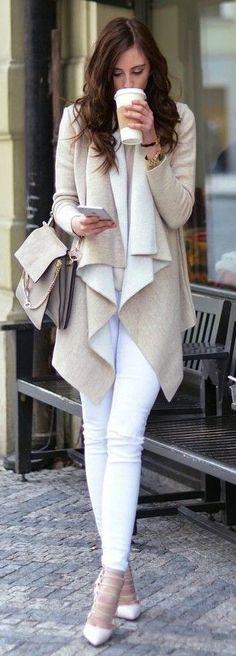 #Street #Fashion | Beige And White Waterfall Cardi, White Denim, White Pumps |Vogue Haus