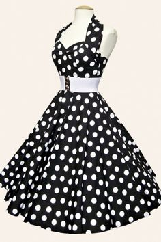 1950s retro swing dresses - halter Polka Dot Black White swing dress cotton…