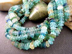 TINY Ancient Roman Glass Rondelle Beads, 1x3mm, 2x5mm, MATTE Aqua Blue, Bactrian Blue Color Mix, Tiny Spacers, Excavation Beads EX09