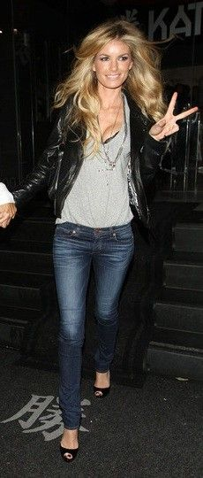 Marisa Miller in J Brand jeans. Cool cute simple yet sexy date night outfit...but I might choose a more casual shoe since Ft Collins is so casual...like maybe a wood platform or wedge. Gotta have a sexy black bra & slim fit jacket for this!