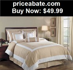 Bedding: 7pcs Champagne White Hotel Block Embossed Comforter Bed-in-a-bag Set Queen Size - BUY IT NOW ONLY $49.99