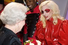 Queen Elizabeth II meets singer Lady Gaga following the Royal Variety Performance on December 7, 2009 in Blackpool