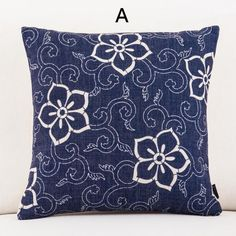 Blue and white porcelain flower pillows for couch Chinoiserie sofa cushions