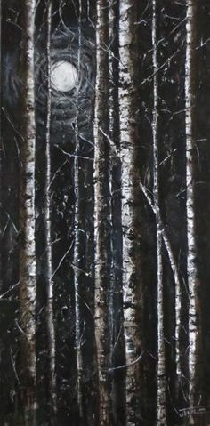 """Mixed Media  Acrylic, dry leaves, sand, plastic mesh on 24x48"""" canvas By Jewel Buhay"""