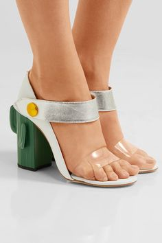 MR by Man Repeller   Cactus Heel Perspex-trimmed metallic leather sandals   NET-A-PORTER.COM