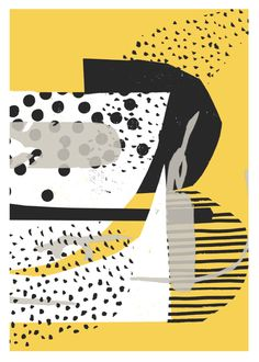 atelier bingo, simple, screen print, design, pattern, Mark making, yellow and black