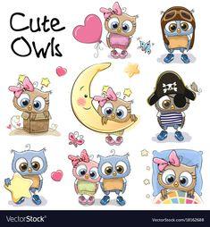 Set of cute cartoon owls Royalty Free Vector Image Cute Cartoon Animals, Cartoon Owls, Cartoon Drawings, Easy Drawings, Cute Owl Drawing, Doodles Bonitos, Cartoon Mignon, Owl Clip Art, Art Mignon
