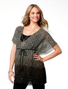 Great tunic style top for skinny jeans or leggings. -- Jessica Simpson Short Sleeve Empire Waist Maternity Blouse