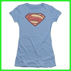 Man Of Steel Superman New Solid Shield Juniors Shirt Carolina Blue Xl - Superheroes shirts (*Amazon Partner-Link)