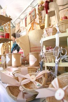 Craft Show Display - love the ribbon tied around the basket with the #(price) stamped on the circle
