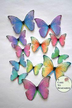 Edible butterflies 12 wafer paper butterflies by ACakeToRemember Fondant Butterfly, Butterfly Cupcakes, Rainbow Cupcakes, Wafer Paper Flowers, Wafer Paper Cake, Paper Butterflies, Cake Pop Tutorial, Paper Flower Tutorial, Spring Cake