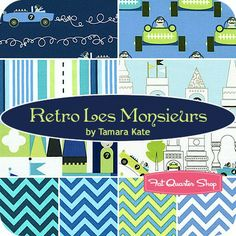 Retro Les Monsieurs Fat Quarter Bundle Tamara Kate for Michael Miller Fabrics