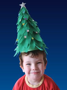 Create your own 3D tree of  layered green crepe paper. Overlapping the leaves around and up the cone creates a realistic, tree-like form. Investigate how a cone shape is formed using a semicircle of card.
