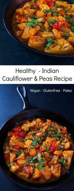 Healthy Indian Cauliflower & Peas Recipe : #cauliflower #curry #vegan