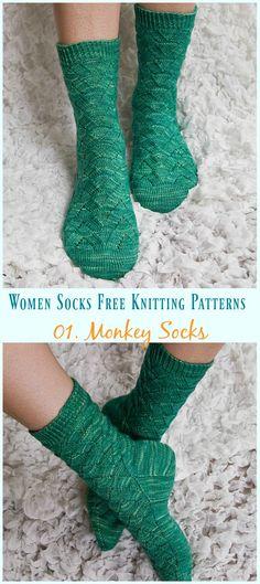 Monkey Socks Knitting Free Pattern- Women Socks Free Knitting Patterns: an eyelet mid-cuff sock for women in stockinette stitch and lace pattern. Knitting Loom Socks, Knitted Socks Free Pattern, Lace Knitting, Knitting Patterns Free, Knit Socks, Knitting Needles, Clean Sofa Fabric, Two Needle Socks, Lace Patterns