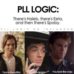 See Caleb is clearly the nicest lol<<<<Spoby is otp Best Tv Shows, Best Shows Ever, Pll Logic, Logic Memes, Pretty Little Liars Meme, Pll Memes, Funny Memes, Ezra Fitz, Best Memes