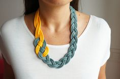 €18.00 BRAIDED NECKLACE,Sailor Knot,Nautical Style,Yellow and Bluish Gray,Knotted,Braided,Woven,Rope Necklace