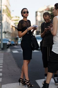 On The Street…. Via Senato, Milan All black with round shades and red lip