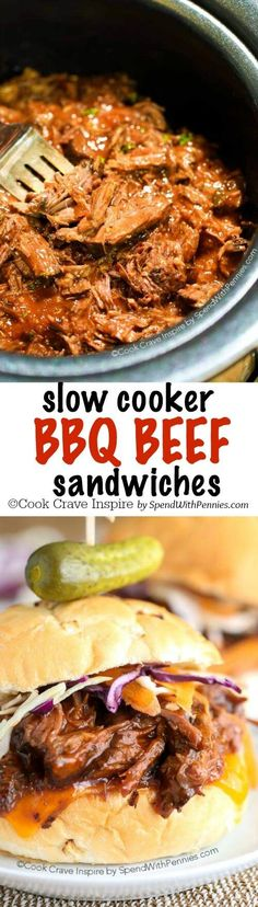 Slow Cooker BBQ Beef Sandwiches in homemade barbecue sauce! Beef is cooked perfectly tender in the crock pot, shredded and piled high on crusty rolls. This is the perfect meal to serve to a crowd!