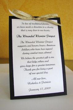 Wedding Gift Donation To Charity : 1000+ images about Wedding Favors on Pinterest Favors, Wedding ...