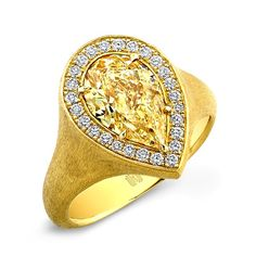 Yellow Pear Shape Ring - Satin finish ring with fancy yellow pear shaped brilliant diamond accented with white diamond melee in 18kt yellow gold.