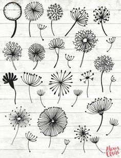 Doodle Art, Doodle Drawings, Zen Doodle, Hand Illustration, Scrapbook Disney, Clock Clipart, Vector Clipart, Watercolor Clipart, Dandelion Clock